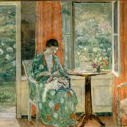 FRIESEKE: Artist's Daughter Sewing,
