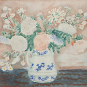 FRIESEKE: Still Life of Flowers in a Painted Pitcher,
